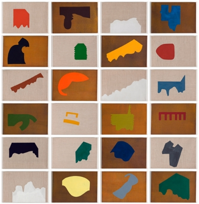 Liv Mette Larsen, Scrap Metal Pieces I-XXIV, New York Paintings, each 25x35cm, eggtempera on canvas, 2011