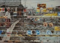 Arm ist nur wer vielerlei begehrt, 13x18cm, tape on canvaspanel, 2009