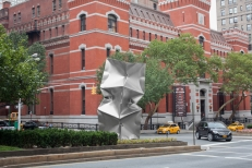 'Habakuk (Homage to Max Ernst)' Stainless Steel 20 x 6.5 x 6.5 ft / 600 x 200 x 200 cm  Aug-Nov 2014 @ Park Avenue at 67 St Sep 2015 @ Expo Chicago