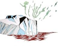 Lina Jabbour, l'Iceberg et les minéraux, china ink, gouache & pen on paper, 50x65, 2005