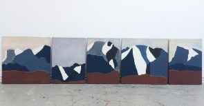 Liv Mette Larsen Gebirgsreihe 70x350cm, 1989 Eggtempera on canvas