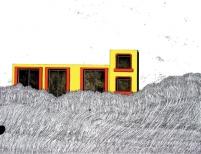 Lina Jabbour, l'Invasion du gazon, china ink, gouache & pen on paper, 50x65, 2005