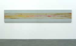 Marc Schmitz, E/W (Stream), 440 x 80 cm, oil, pigment on wood, 2009