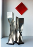 'Threesome (Caryatids)',  3 parts, Stainless Steel 40/ 38/ 36 x 6.5x6.5 inch 100/ 96/ 92 x 16x16 cm