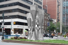 'Threesome (Caryatids)'  Stainless Steel, 3 parts   20 / 18/ 16 x 3.3 x 3.3 ft 600 /550/ 500 x 100 x 100 cm, 2014 Park Avenue intersection at 54 St