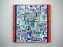 Manuel Ros, Blue Labyrinth, 150x150cm acrylic on canvas, 2008