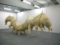 Stephen Wilks, caterpillar, installview 2010 circa 800 cm, ink, canvas, polyester, rope, pulley, 2010