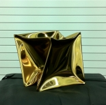 'Golden Cube',  Stainless Steel, gold coated 12x12x12 inch 30x30x30 cm