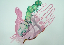 Stephen Wilks, Handcocoon, ink and acrylic on paper, 42x60 cm, 2009