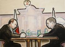 torsten ruehle, im februar 08 beschließen Putin und Medwedew eine leibrente für alle russen, 30x40cm, oil and pigment pen on canvas, 2008