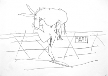 Donkey Drawing, Pen on Paper, 60 x 40 cm, 2006