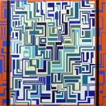 "Manuel Ros ""Blue Labyrinth"" 150x150cm acrylic on canvas, 2008"