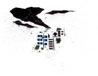 raisin-nuages, china ink, gouache & pen on paper