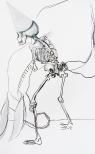 Skeleton III, drawings, ink, acrylic and charcoal on mounted paper, 175 x 110 cm, 2009
