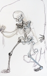 Skeleton IV, drawings, ink, acrylic and charcoal on mounted paper, 175 x 110 cm, 2009