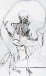 Skeleton V, drawings, ink, acrylic and charcoal on mounted paper, 175 x 110 cm, 2009