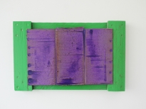 Lamazares_Lilac, 41 x 64cm, lacquer on cardboard, wood, 2012