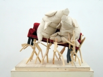 SOFA PIGS, Wood, Fabric, Cloth, Glue, Box, 110x100x86 cm, 2006