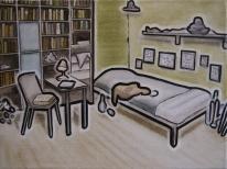 torsten ruehle, seit dem januar 2007 ist das kinderzimmer von george w bush in texas für besucher geöffnet, 30x40cm, oil and pigment pen on canvas, 2007
