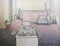 torsten ruehle, rabbits, 172x222cm, oil and pigment pen on canvas, 2008