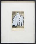 torsten ruehle, die heilige familie, 13x9cm, 30x24cm, vinyl, glitter on vintage photograph 2010