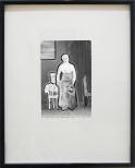 torsten ruehle, frau mit knödeln, 13x9cm, 30x24cm, vinyl, glitter on vintage photograph, 2010