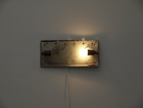 Wiegand_Nicht die Fassung verlieren, 19 x 41cm, marker on metal, bulb, electric cable, edition 1/2, 2008