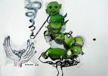 Stephen Wilks, alice, 40x60cm, gouache on  paper, 2009