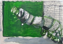 Stephen Wilks, caterpillar, 40x60cm, gouache on  paper, 2009