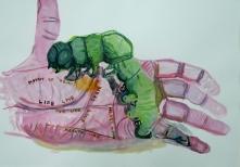 Stephen Wilks, lines of the hand, 40x60cm, gouache on  paper, 2009