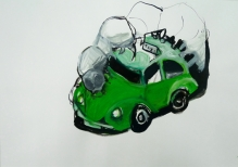 Stephen Wilks, taxi, 40x60cm, gouache on  paper, 2009